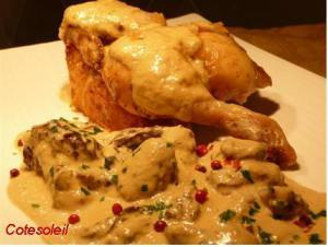 Coquelet rôti sauce foie gras