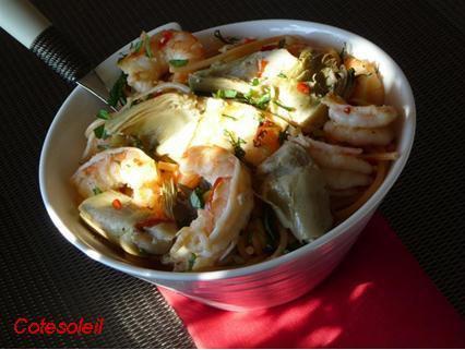 Spaghetti pimentées aux crevettes coeur artichaut