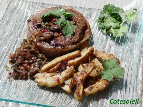 Tournedo aux artichauts sauce aux capres anchoix