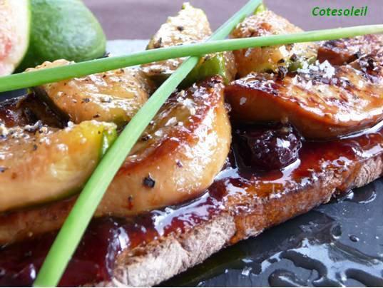Tartine de foie gras figues fraiches caramélisées