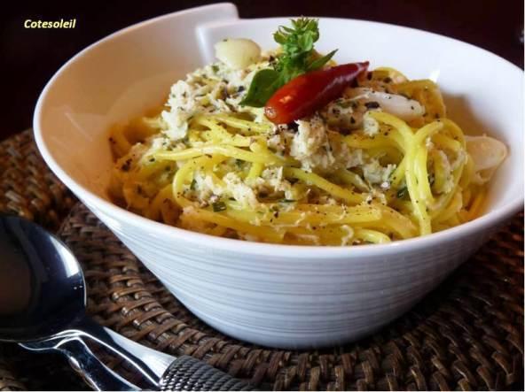 Spaghetti au crabe piment citron vert c t soleils - Cuisiner avec se que j ai dans mon frigo ...