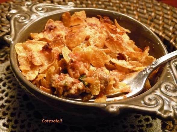 Cassolette d'agneau aux aubergines & corn flaks