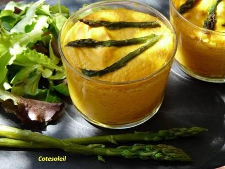 Soufflet carottes pointes asperges vertes