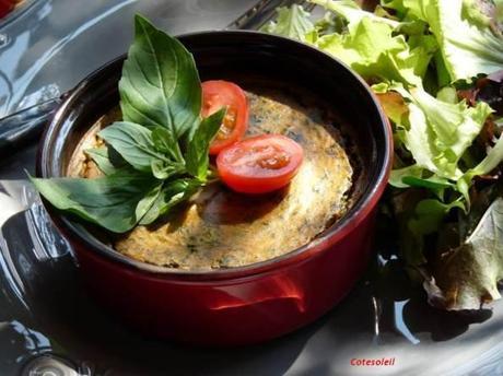 Clafouti chevre frais epinards & basilic