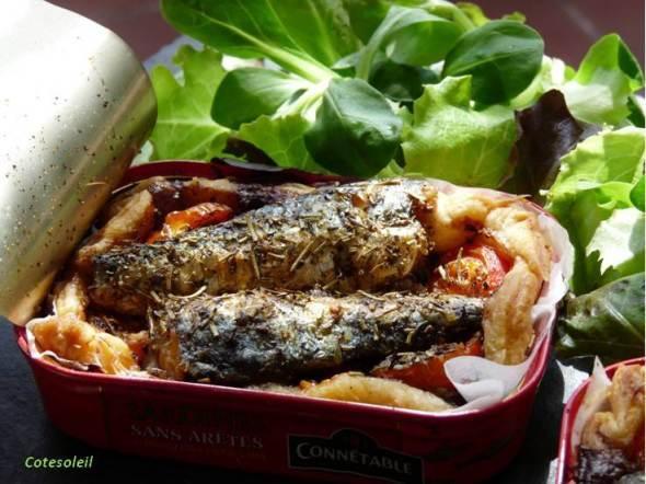 Tarte fine aux sardines et tapenade