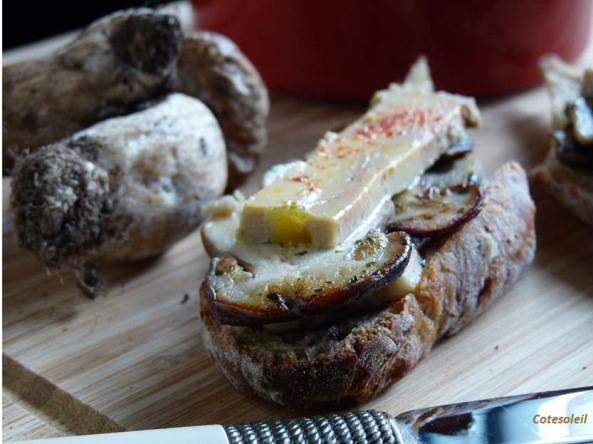 Bruschetta cepes  & foie gras
