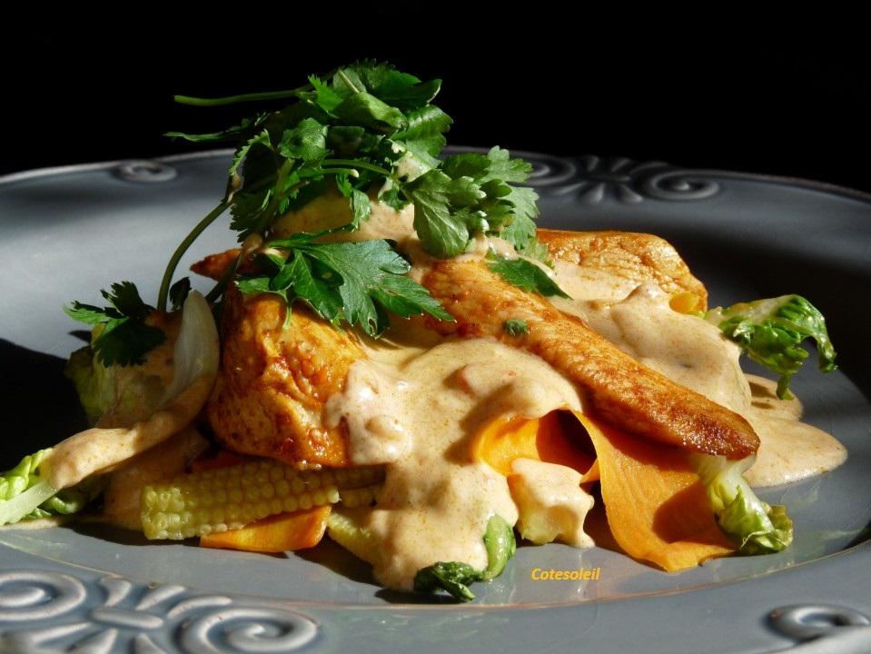 Aiguillettes de poulet au saté & wok de légumes