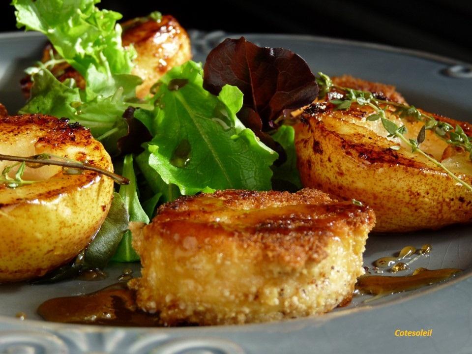 Crottin chevre panés et poires caramélisées