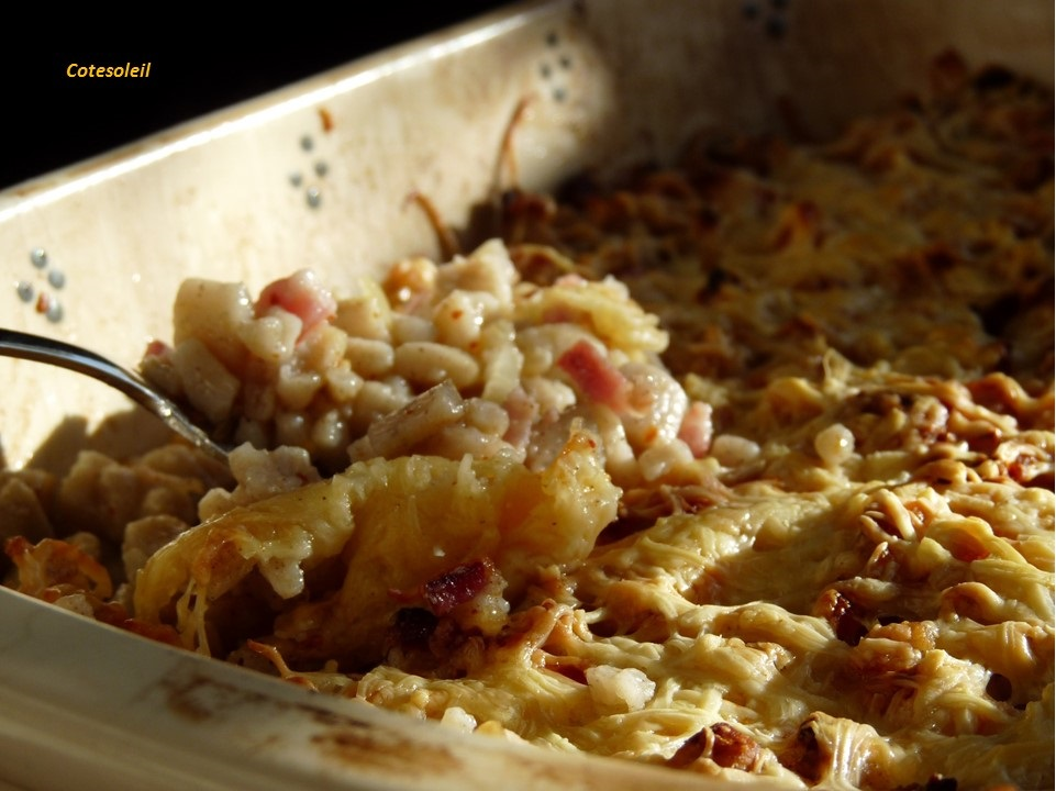 Crozets aux oignons & lardons