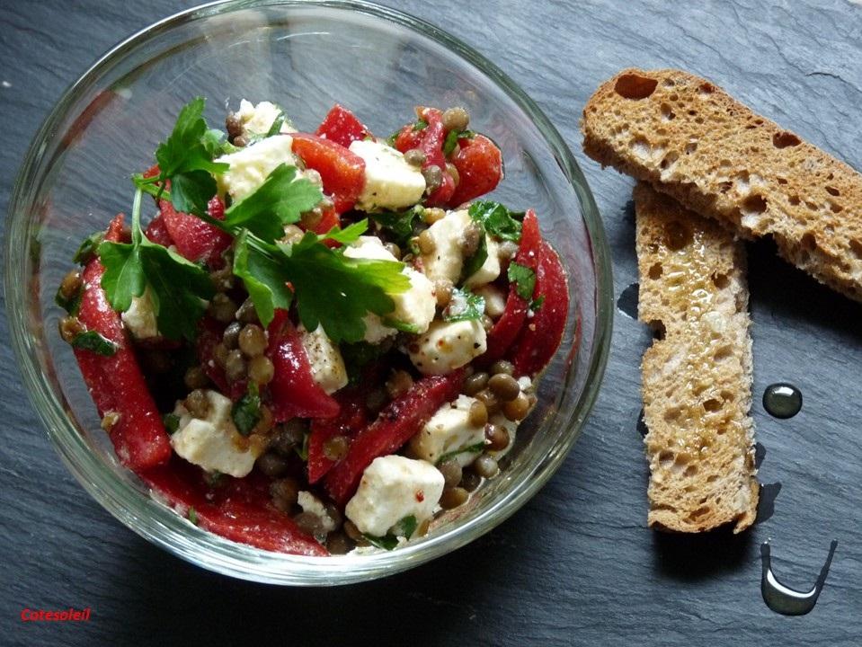 Salade lentilles poivron & feta