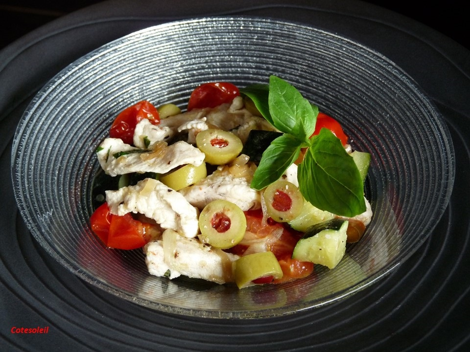 Gougeonette de dinde aux olives