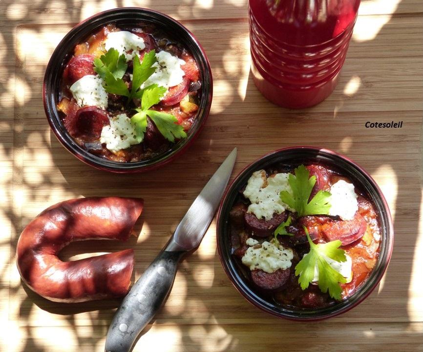 Cassolette de légumes du soleil chorizo & chevre