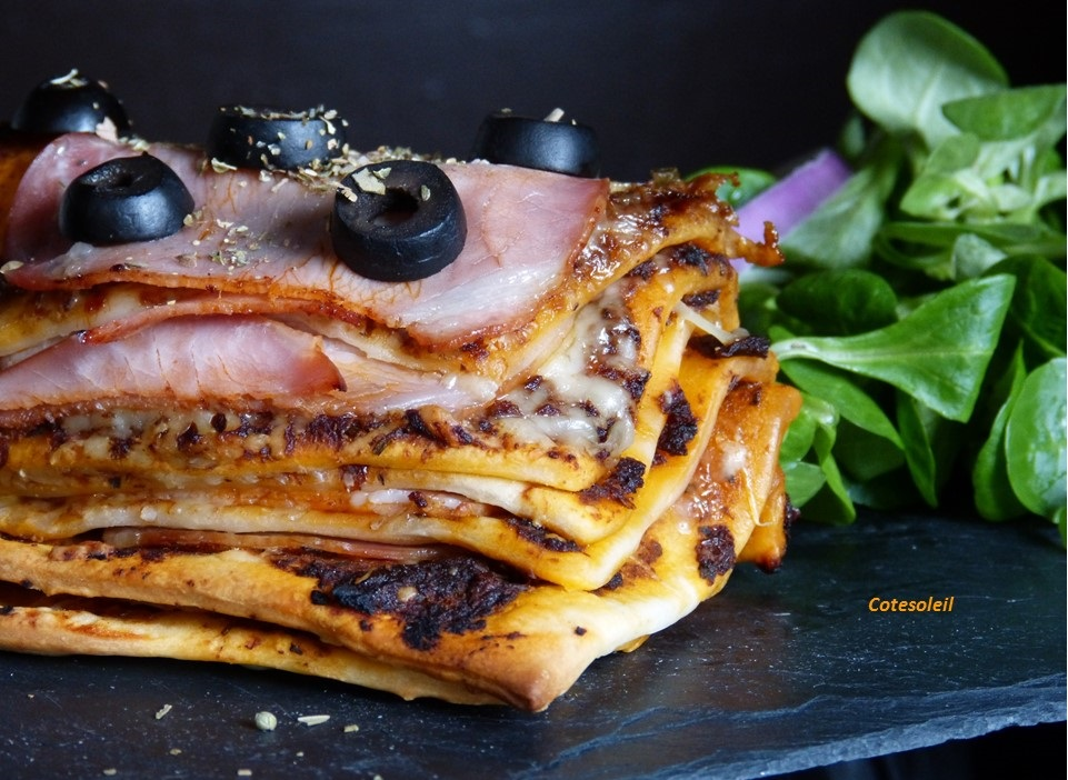 Millefeuille de pizza au bacon fumé