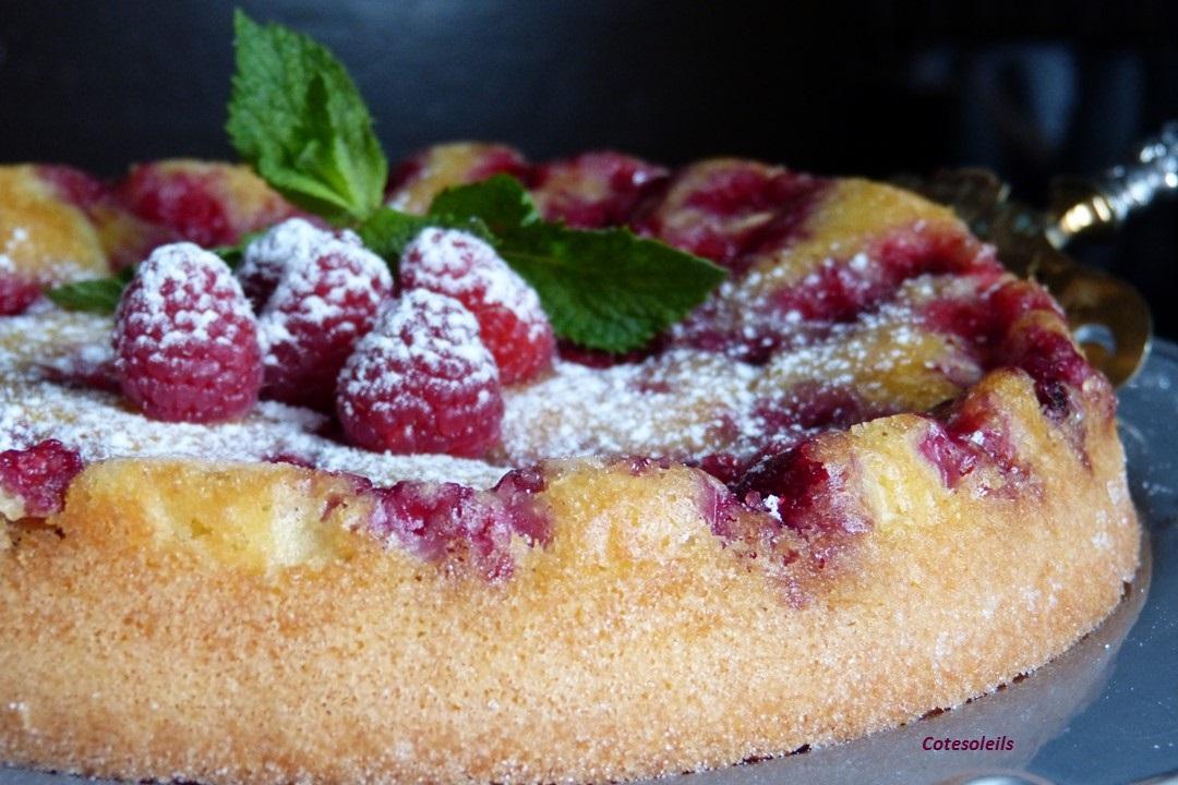 Gâteau renversé à la framboises