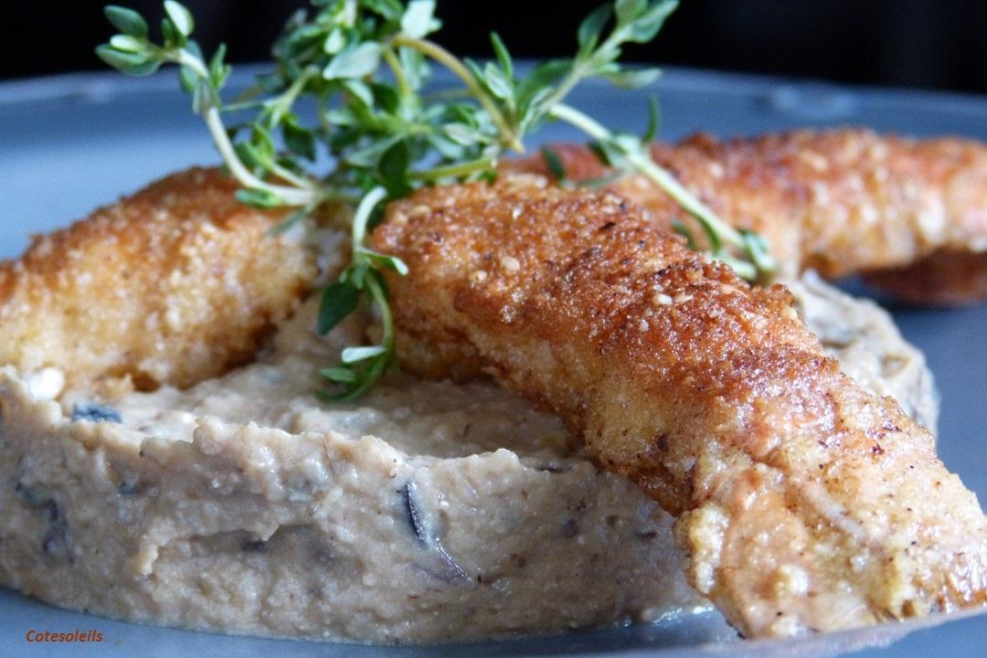 Langoustines croustillantes sur caviar aubergine