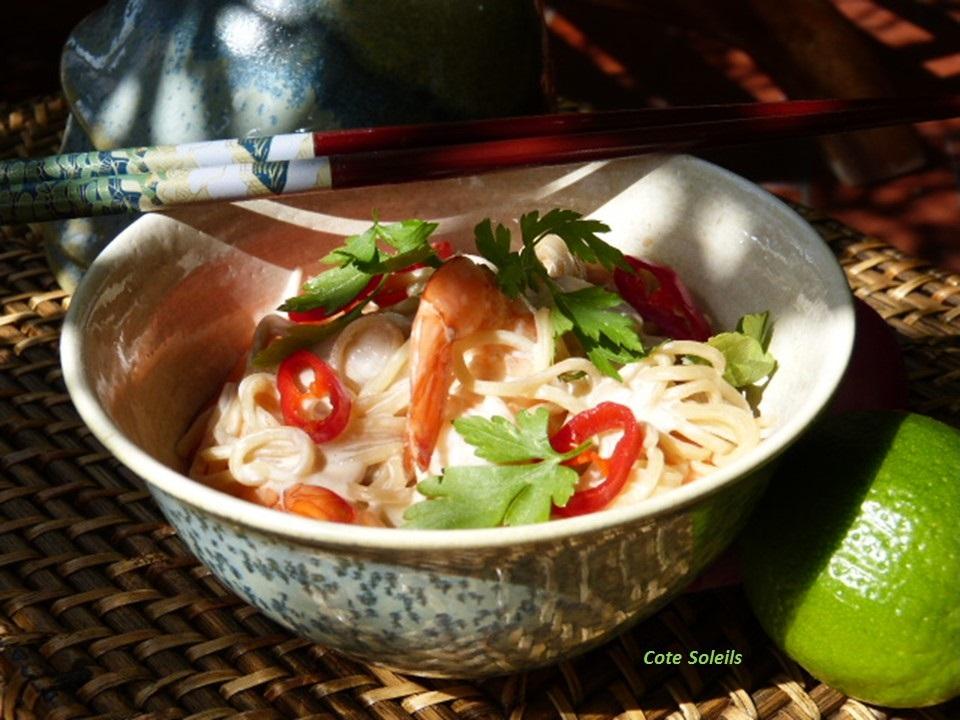 Nouilles chinoises aux crevettes coco & citronnelle