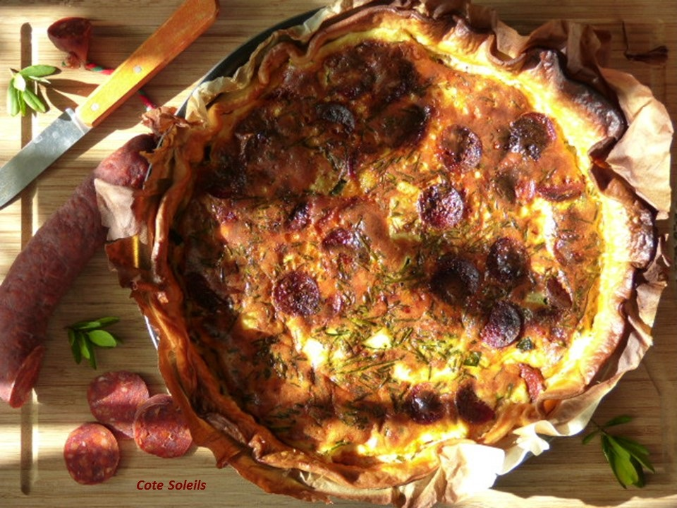 Quiche courgettes & chorizo